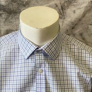 Izod blue and white checked shirt-16 1/2